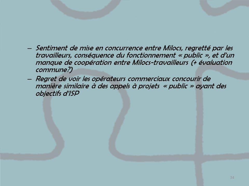 – Sentiment de mise en concurrence entre Milocs, regretté par les travailleurs, conséquence du fonctionnement « public », et dun manque de coopération