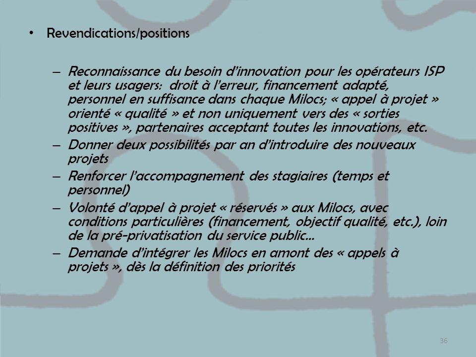 Revendications/positions – Reconnaissance du besoin dinnovation pour les opérateurs ISP et leurs usagers: droit à lerreur, financement adapté, personn
