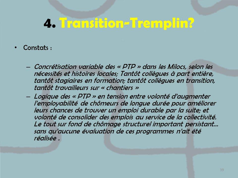4. Transition-Tremplin? Constats : – Concrétisation variable des « PTP » dans les Milocs, selon les nécessités et histoires locales; Tantôt collègues