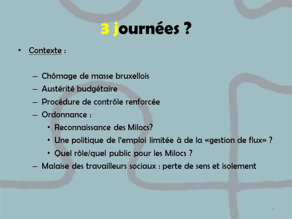 3 journées ? Contexte : – Chômage de masse bruxellois – Austérité budgétaire – Procédure de contrôle renforcée – Ordonnance : Reconnaissance des Miloc