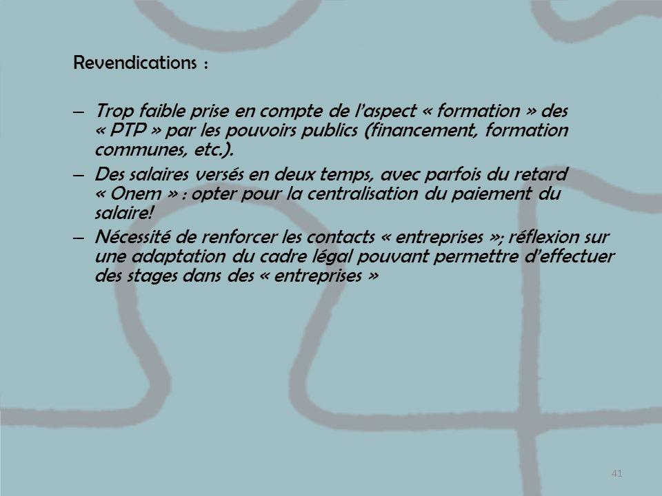 Revendications : – Trop faible prise en compte de laspect « formation » des « PTP » par les pouvoirs publics (financement, formation communes, etc.).