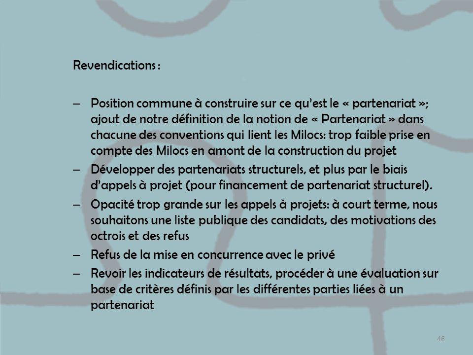 Revendications : – Position commune à construire sur ce quest le « partenariat »; ajout de notre définition de la notion de « Partenariat » dans chacu