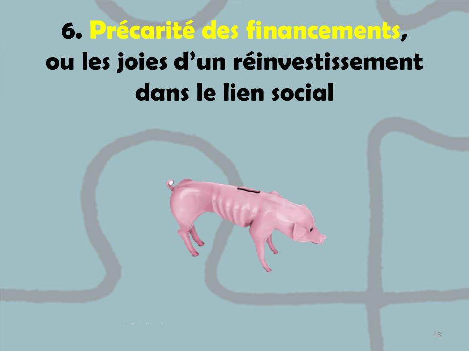 6. Précarité des financements, ou les joies dun réinvestissement dans le lien social 48