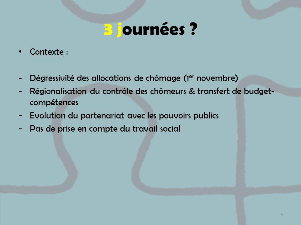 3 journées ? Contexte : -Dégressivité des allocations de chômage (1 er novembre) -Régionalisation du contrôle des chômeurs & transfert de budget- comp