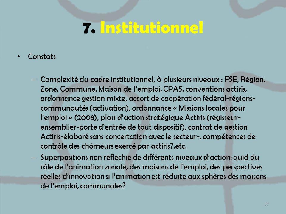 7. Institutionnel Constats – Complexité du cadre institutionnel, à plusieurs niveaux : FSE, Région, Zone, Commune, Maison de lemploi, CPAS, convention