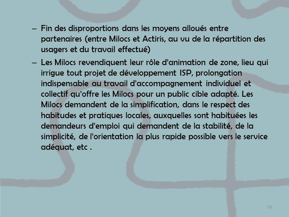 – Fin des disproportions dans les moyens alloués entre partenaires (entre Milocs et Actiris, au vu de la répartition des usagers et du travail effectu