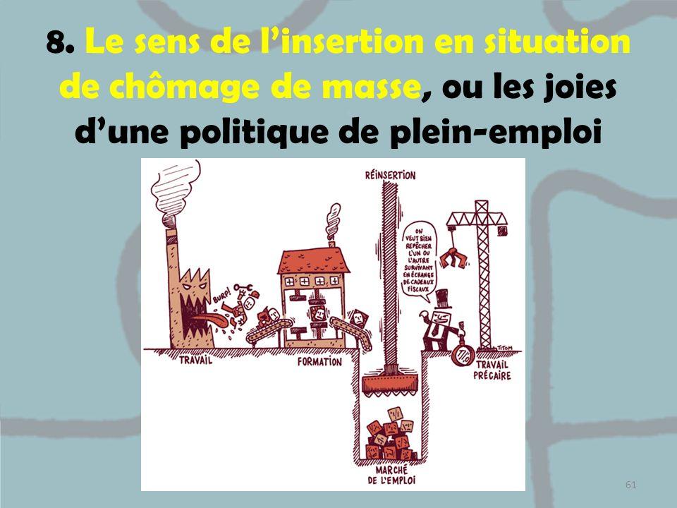 8. Le sens de linsertion en situation de chômage de masse, ou les joies dune politique de plein-emploi 61