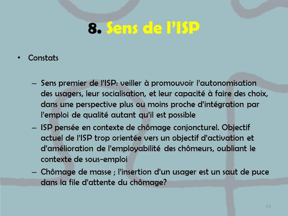 8. Sens de lISP Constats – Sens premier de lISP: veiller à promouvoir lautonomisation des usagers, leur socialisation, et leur capacité à faire des ch