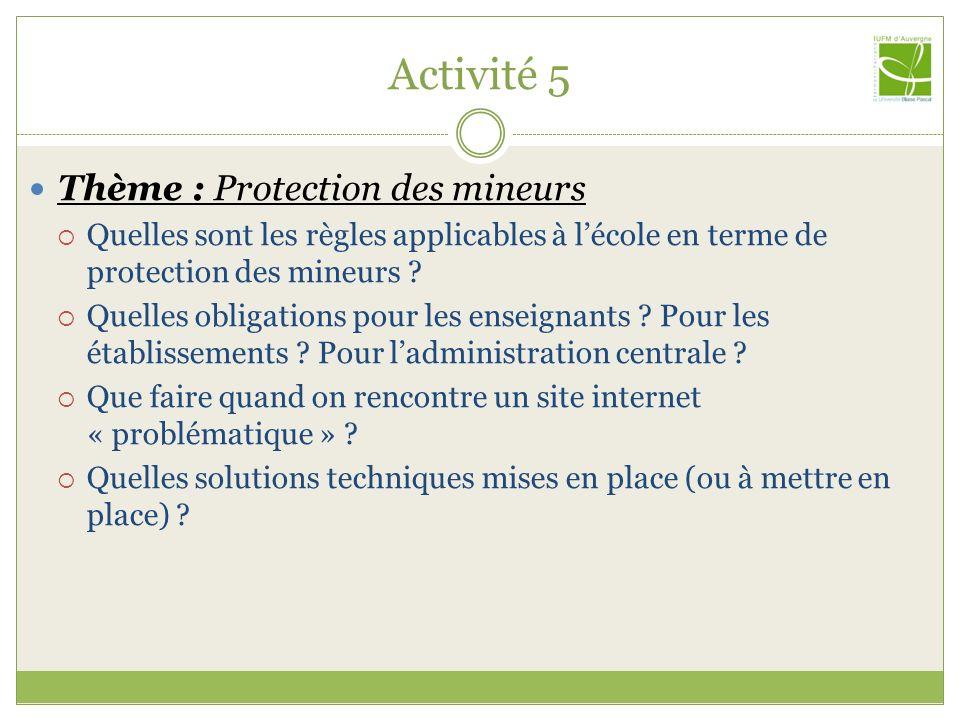 Activité 5 Thème : Protection des mineurs Quelles sont les règles applicables à lécole en terme de protection des mineurs ? Quelles obligations pour l