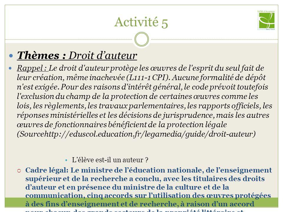 Activité 5 Thèmes : Droit dauteur Rappel : Le droit d'auteur protège les œuvres de l'esprit du seul fait de leur création, même inachevée (L111-1 CPI)