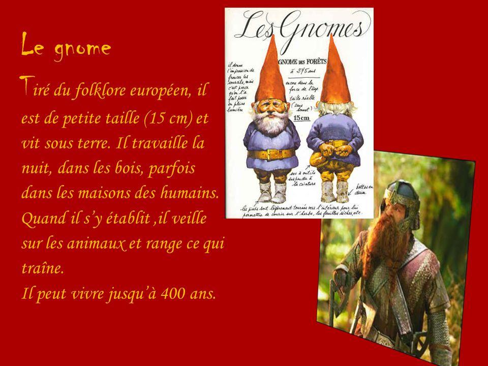 Le gnome T iré du folklore européen, il est de petite taille (15 cm) et vit sous terre. Il travaille la nuit, dans les bois, parfois dans les maisons