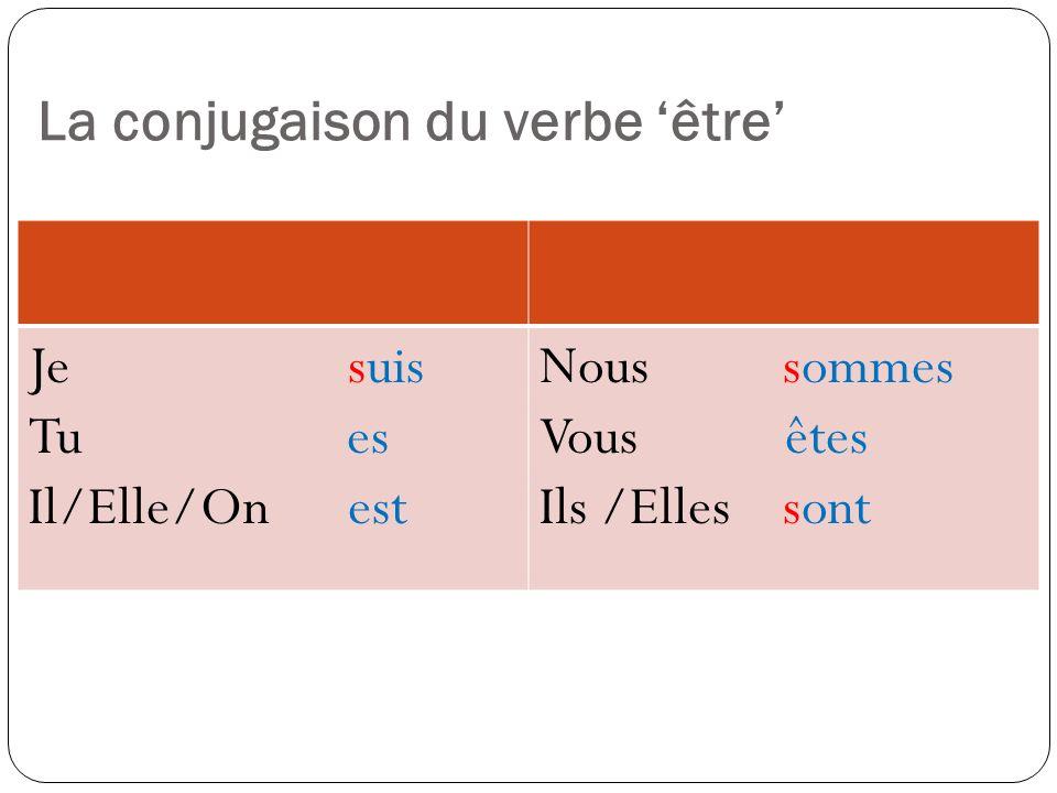 La conjugaison du verbe être Je suis Tu es Il/Elle/On est Nous sommes Vous êtes Ils /Elles sont
