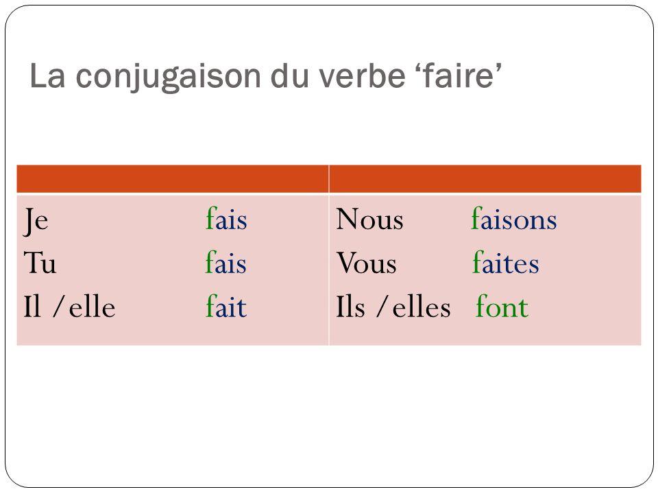 Quelques expressions idiomatiques avec le verbe faire - Faire attention (à) (to pay attention to ) Je fais attention au (à le) professeur - Faire de son mieux (to do ones best) Je fais de mon mieux dans le cours de Français.