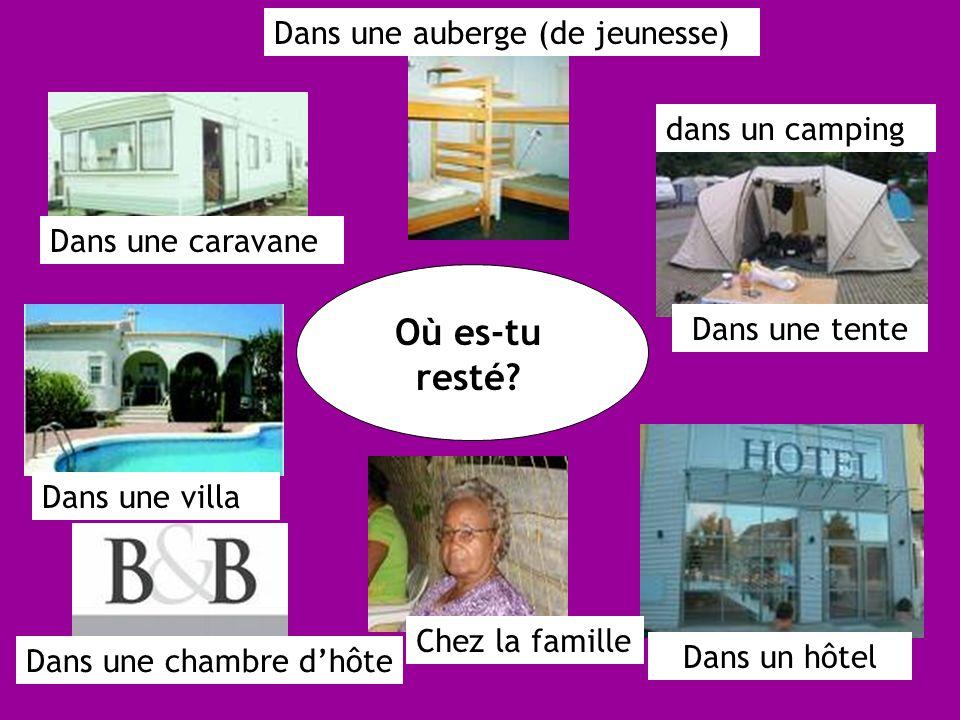 Dans une caravane Dans une villa Dans une chambre dhôte Chez la famille Dans un hôtel Dans une tente dans un camping Dans une auberge (de jeunesse)