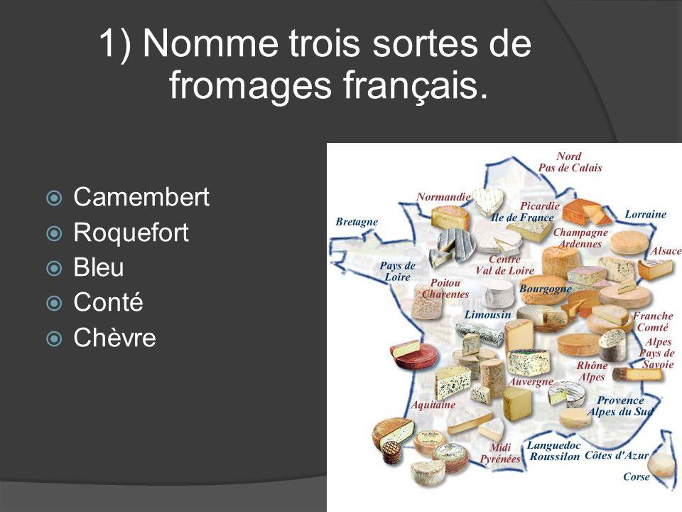 1) Nomme trois sortes de fromages français. Camembert Roquefort Bleu Conté Chèvre
