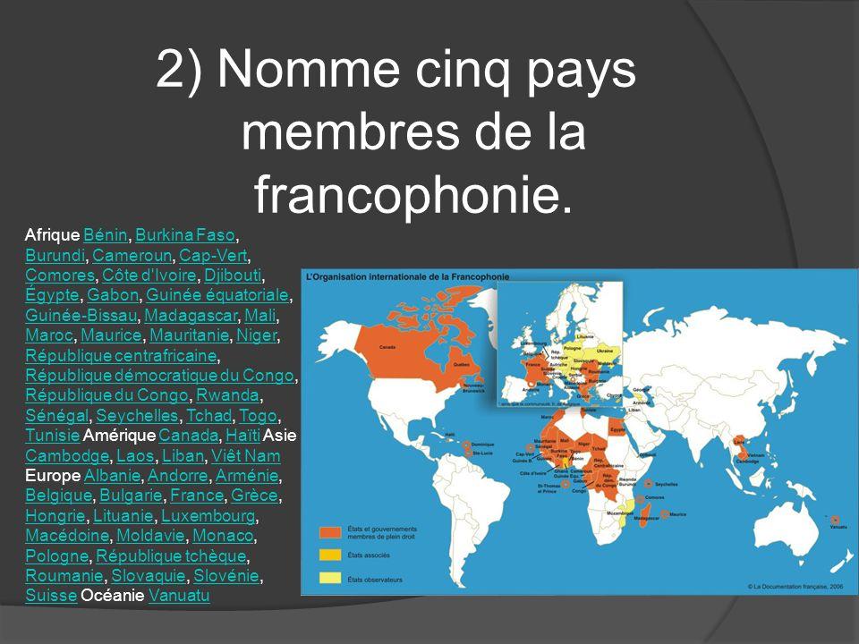 2) Nomme cinq pays membres de la francophonie. Afrique Bénin, Burkina Faso, Burundi, Cameroun, Cap-Vert, Comores, Côte d'Ivoire, Djibouti, Égypte, Gab