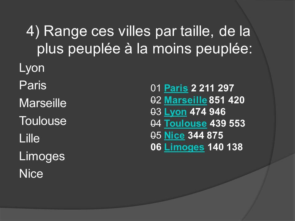 4) Range ces villes par taille, de la plus peuplée à la moins peuplée: Lyon Paris Marseille Toulouse Lille Limoges Nice 01 Paris 2 211 297Paris 02 Mar