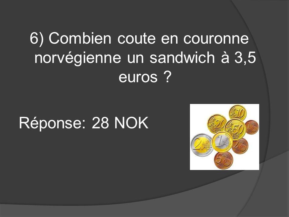 6) Combien coute en couronne norvégienne un sandwich à 3,5 euros ? Réponse: 28 NOK