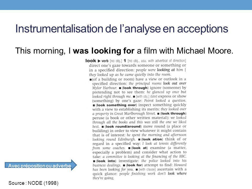 Instrumentalisation de lanalyse en acceptions This morning, I was looking for a film with Michael Moore. Avec préposition ou adverbe Source : NODE (19