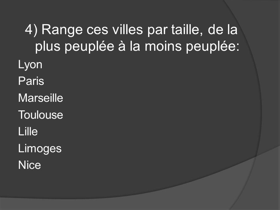 4) Range ces villes par taille, de la plus peuplée à la moins peuplée: Lyon Paris Marseille Toulouse Lille Limoges Nice