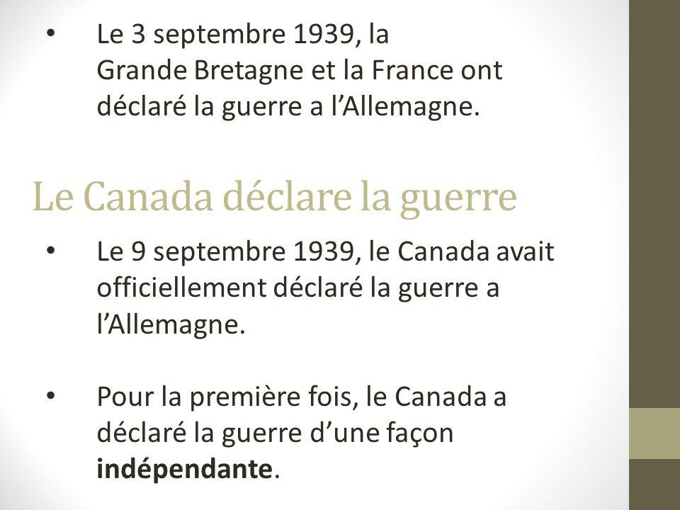 Pays démocratiques Angleterre France Canada La guerre est déclenchée entre deux groupes de pays avec des idéologies complètement opposées: Pays totalitaires Allemagne Union Soviétique Italie La division des pays