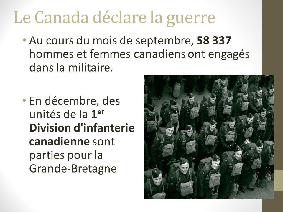 Le 3 septembre 1939, la Grande Bretagne et la France ont déclaré la guerre a lAllemagne.
