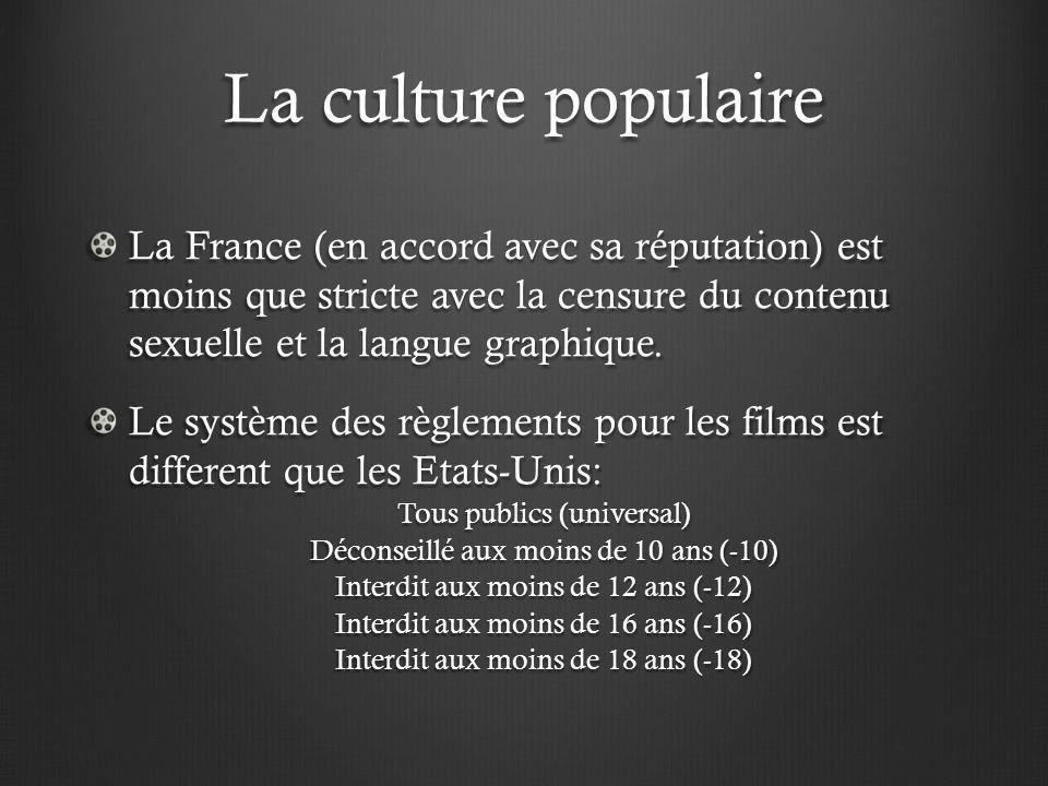 La culture populaire La France (en accord avec sa réputation) est moins que stricte avec la censure du contenu sexuelle et la langue graphique. Le sys