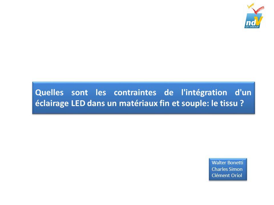 Développement Modes dintégrations possibles Sur le recto du tissu LED sur la surface Fils passant à travers le tissu Possibilité de protection et masquage de la LED par un film transfert (décoration ou logo) Sur le verso du tissu LED sous la surface du tissu Légère incrustation dans lépaisseur