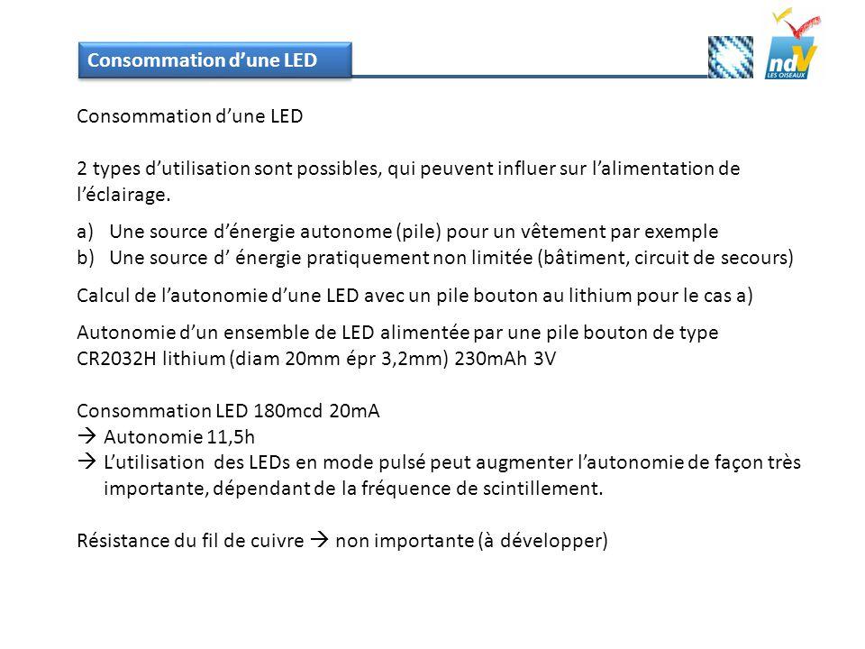 Consommation dune LED 2 types dutilisation sont possibles, qui peuvent influer sur lalimentation de léclairage. a)Une source dénergie autonome (pile)