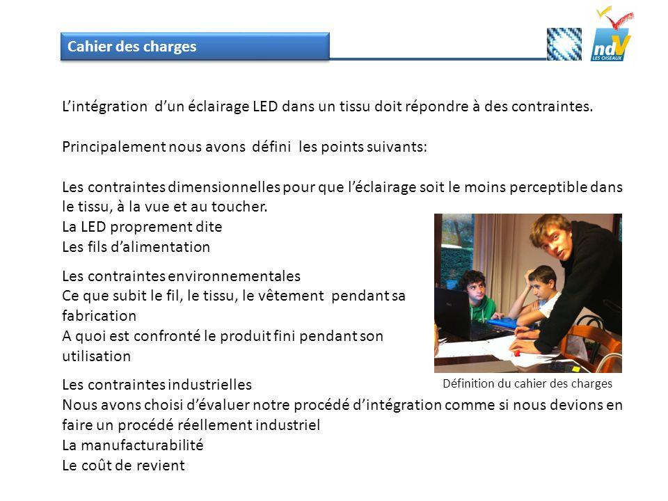 Cahier des charges Lintégration dun éclairage LED dans un tissu doit répondre à des contraintes. Principalement nous avons défini les points suivants: