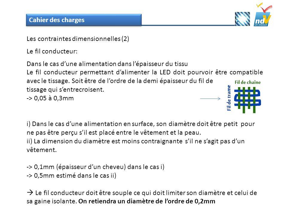 Cahier des charges Les contraintes dimensionnelles (2) Le fil conducteur: Dans le cas dune alimentation dans lépaisseur du tissu Le fil conducteur per