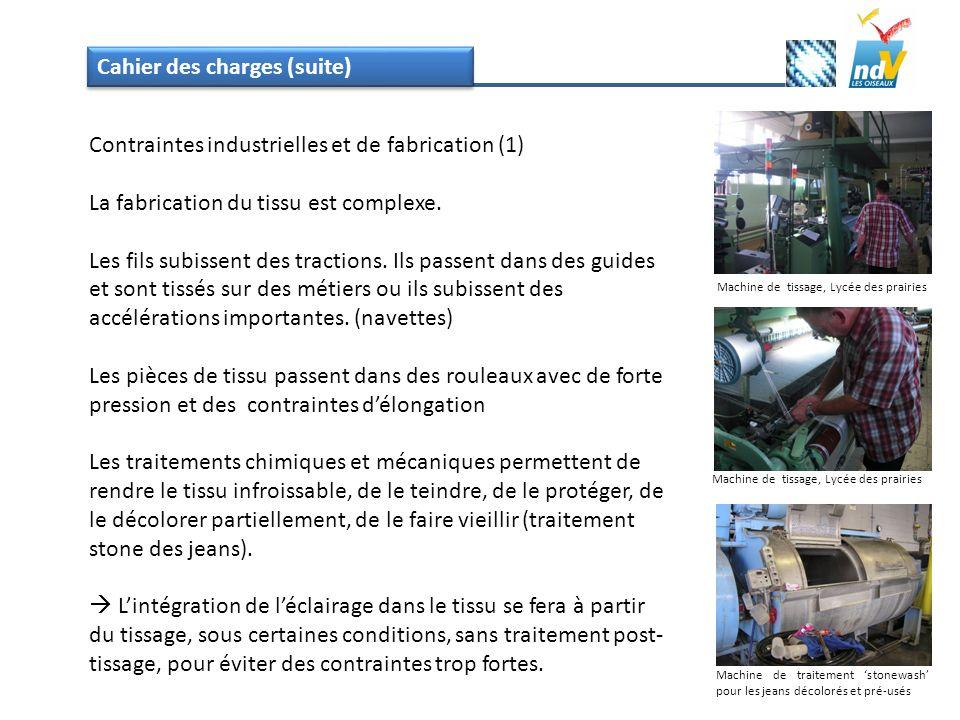 Cahier des charges (suite) Contraintes industrielles et de fabrication (1) La fabrication du tissu est complexe. Les fils subissent des tractions. Ils