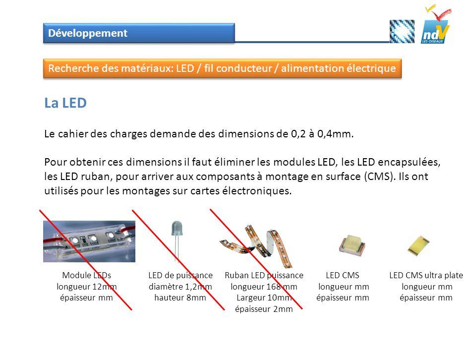Développement La LED Le cahier des charges demande des dimensions de 0,2 à 0,4mm. Pour obtenir ces dimensions il faut éliminer les modules LED, les LE