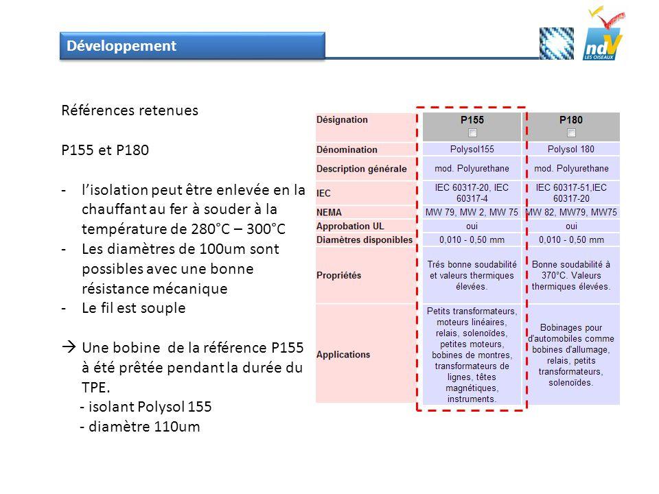 Développement Références retenues P155 et P180 -lisolation peut être enlevée en la chauffant au fer à souder à la température de 280°C – 300°C -Les di