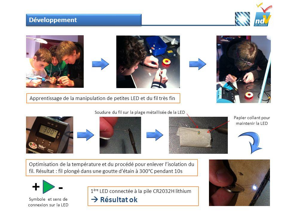 Développement Optimisation de la température et du procédé pour enlever lisolation du fil. Résultat : fil plongé dans une goutte détain à 300°C pendan