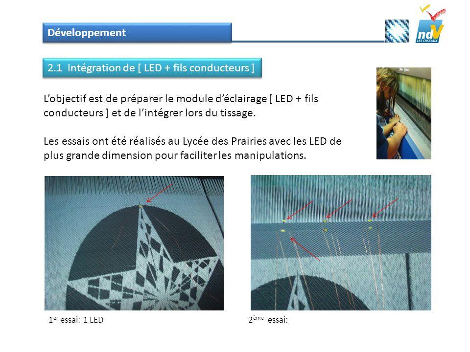 Développement Lobjectif est de préparer le module déclairage [ LED + fils conducteurs ] et de lintégrer lors du tissage. Les essais ont été réalisés a