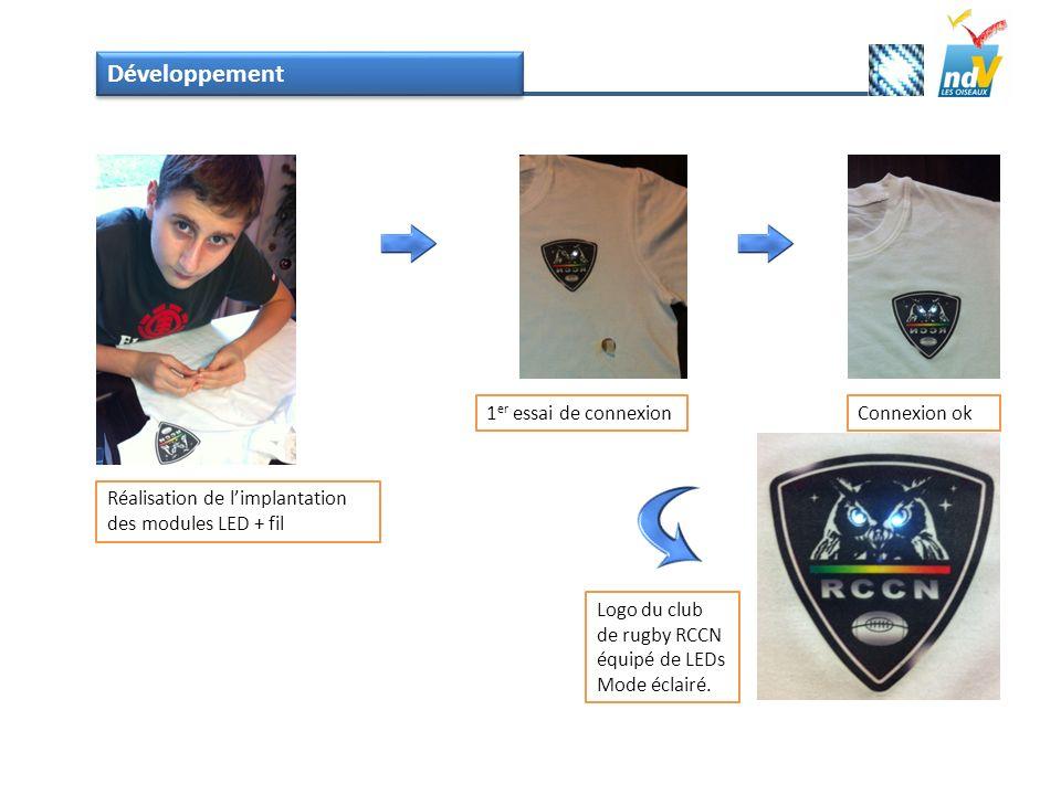 Développement Réalisation de limplantation des modules LED + fil 1 er essai de connexionConnexion ok Logo du club de rugby RCCN équipé de LEDs Mode éc