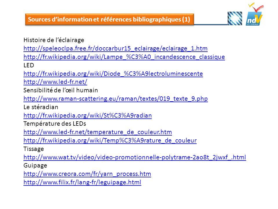 Sources dinformation et références bibliographiques (1) Histoire de léclairage http://speleoclpa.free.fr/doccarbur15_eclairage/eclairage_1.htm http://