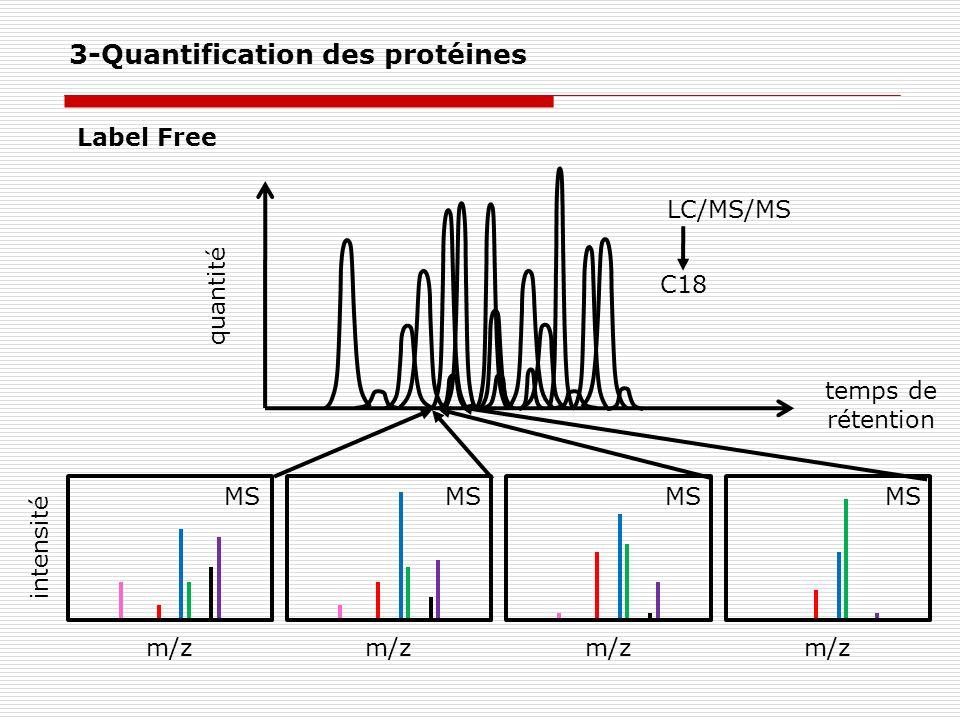 quantité temps de rétention Label Free LC/MS/MS intensité m/z MS C18 3-Quantification des protéines