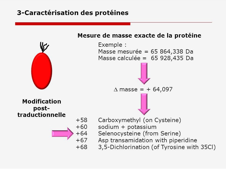 Modification post- traductionnelle Mesure de masse exacte de la protéine Exemple : Masse mesurée = 65 864,338 Da Masse calculée = 65 928,435 Da +58Car