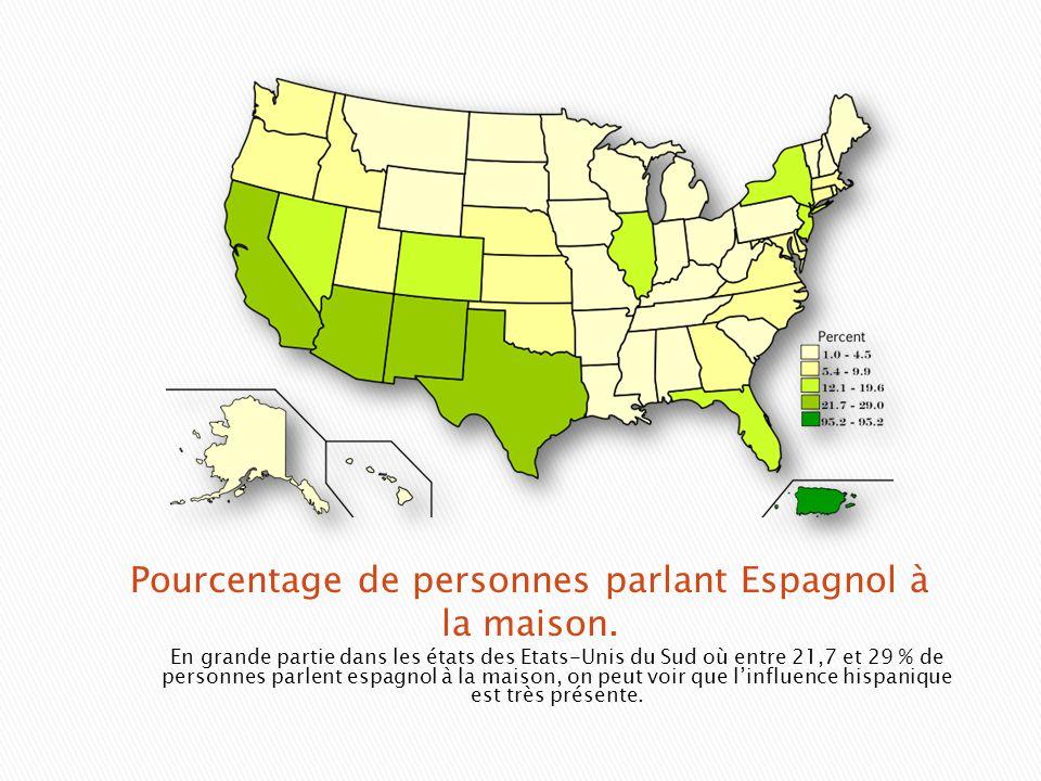 En grande partie dans les états des Etats-Unis du Sud où entre 21,7 et 29 % de personnes parlent espagnol à la maison, on peut voir que linfluence his