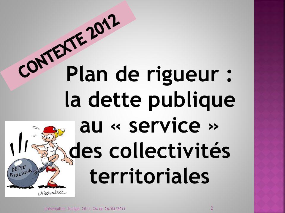 Plan de rigueur : la dette publique au « service » des collectivités territoriales présentation budget 2011- CM du 26/04/2011 2