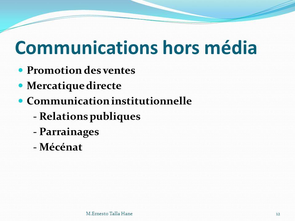 Communications hors média Promotion des ventes Mercatique directe Communication institutionnelle - Relations publiques - Parrainages - Mécénat 12M.Ern