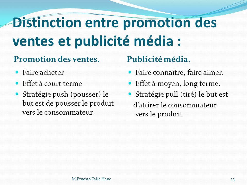 Distinction entre promotion des ventes et publicité média : Promotion des ventes. Publicité média. Faire acheter Effet à court terme Stratégie push (p