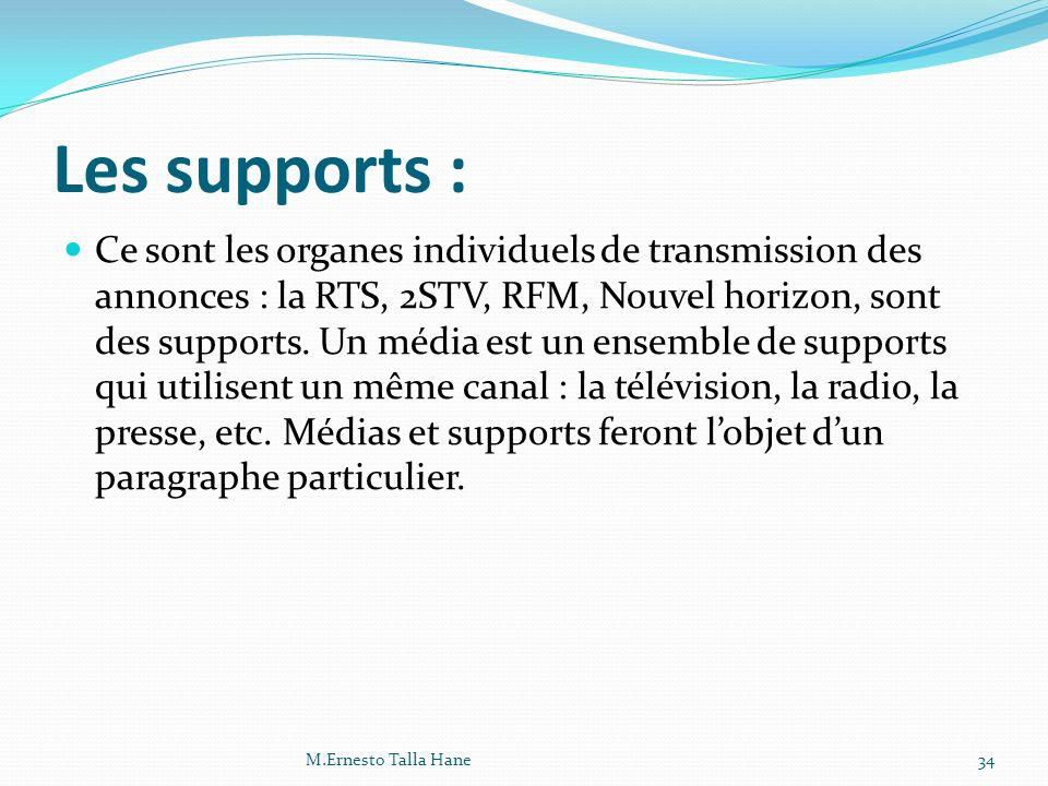 Les supports : Ce sont les organes individuels de transmission des annonces : la RTS, 2STV, RFM, Nouvel horizon, sont des supports. Un média est un en
