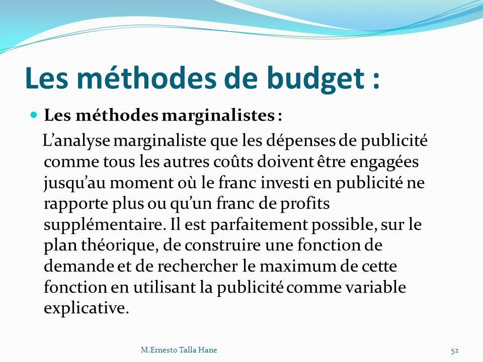 Les méthodes de budget : Les méthodes marginalistes : Lanalyse marginaliste que les dépenses de publicité comme tous les autres coûts doivent être eng