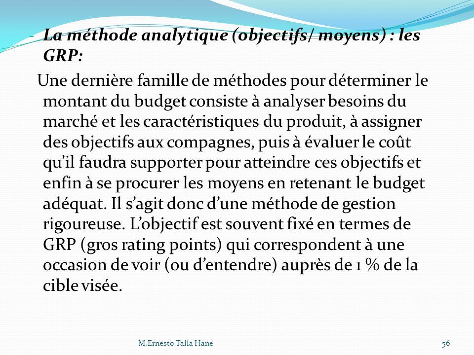 - La méthode analytique (objectifs/ moyens) : les GRP: Une dernière famille de méthodes pour déterminer le montant du budget consiste à analyser besoi