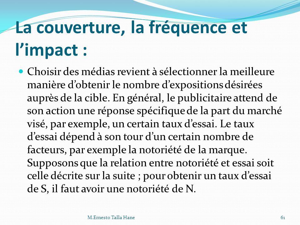 La couverture, la fréquence et limpact : Choisir des médias revient à sélectionner la meilleure manière dobtenir le nombre dexpositions désirées auprè