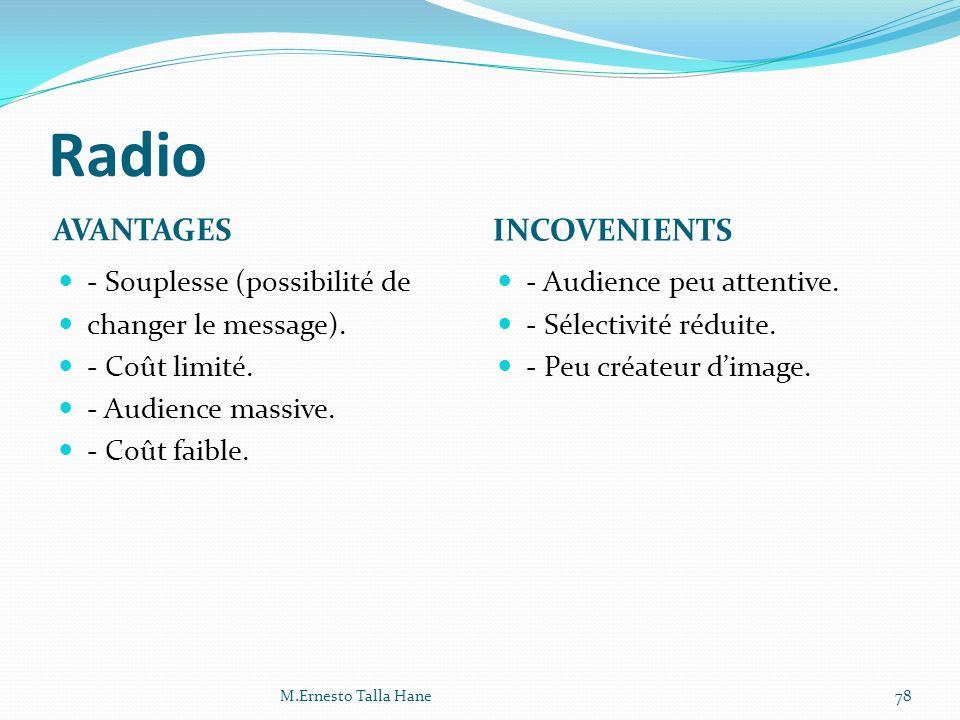 Radio AVANTAGES INCOVENIENTS - Souplesse (possibilité de changer le message). - Coût limité. - Audience massive. - Coût faible. - Audience peu attenti