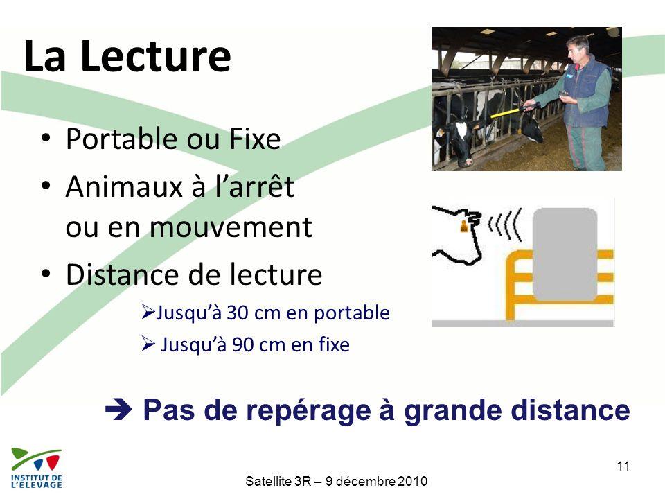 Portable ou Fixe Animaux à larrêt ou en mouvement Distance de lecture Jusquà 30 cm en portable Jusquà 90 cm en fixe Pas de repérage à grande distance